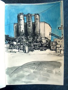 """Greco Concrete"" by Danny. India and sumi ink, watercolor."