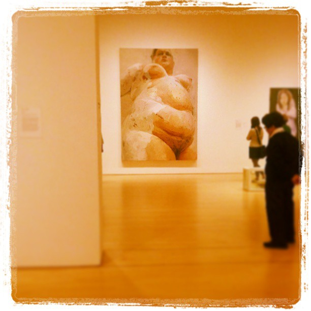 I really love Jenny Saville's work. This painting is about 10 feet tall. It's super raw but also almost photographically rendered in places. Super fleshy . She's a disciple of Lucien Freud. And I'm a disciple of a disciple of a disciple of Lucien Freud.   I love to take photographs in museums but I almost always get in trouble when I do. The San Francisco Museum of Modern Art has a crazy rule that you cannot wear a backpack with both straps on. It has to hang off one shoulder or else a guard will come over and correct you. Mysterious and strange. like so much Modern Art 2 days ago