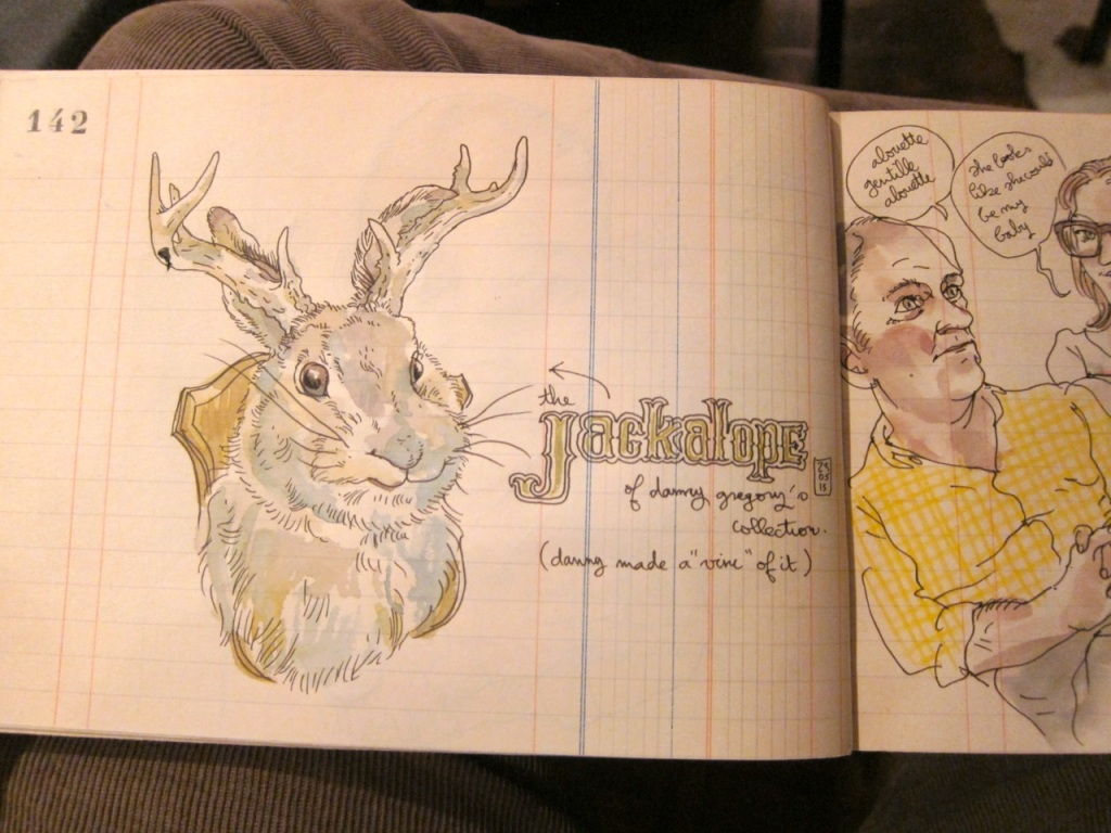 It's only right that a Lapin is drawn to my jackalope.