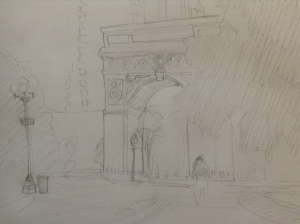 Washington Square in pencil