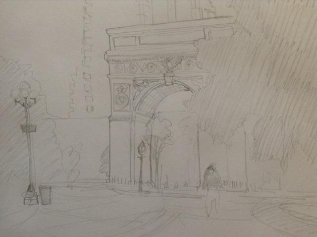 Washington Square in pencil