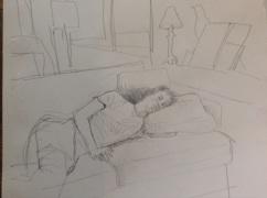 Jack asleep in pencil