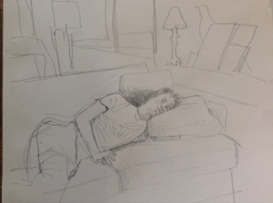 Jack asleep in pencil