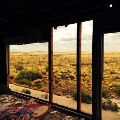 A view of the desert from an abandoned building.