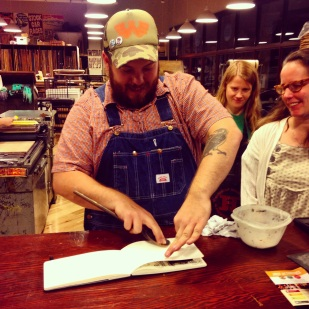 The printers at Hatch Show Print loved my sketchbook and added a special woodblock print with a wooden spoon.