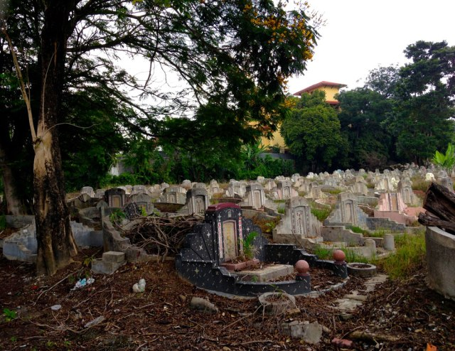 There's a Chinese graveyard next to the school.
