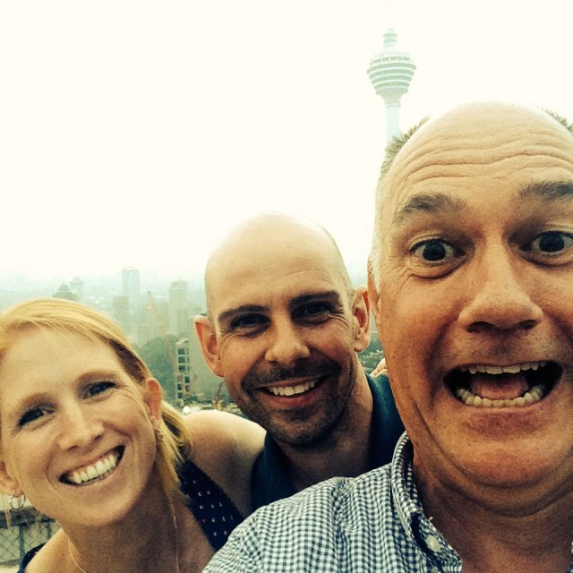 On the helipad overlooking KL — with my hosts, Ian and Pauline.