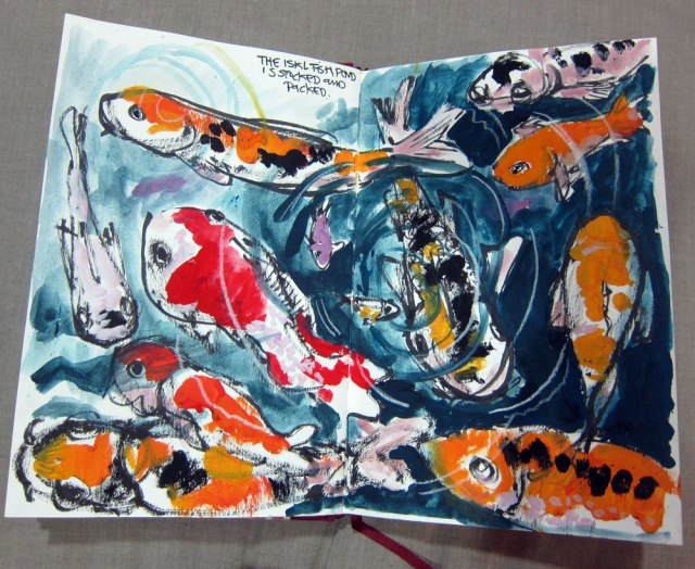 The koi pond in the school entryway. I painted it in gouache.