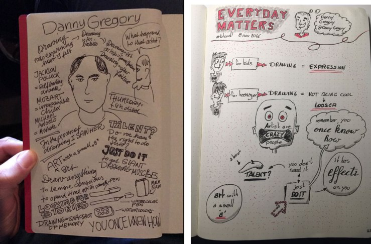 Conference attendees shared their sketchnotes on Twitter.